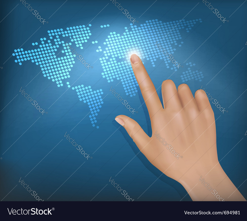 Finger touching world map on a touch screen vector | Price: 1 Credit (USD $1)