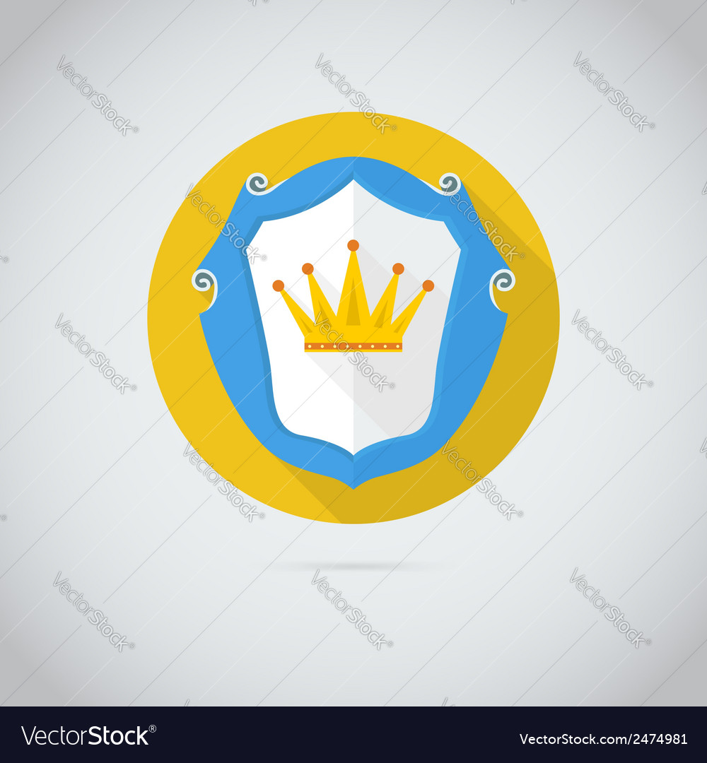 Flat icon with golden crown vector | Price: 1 Credit (USD $1)