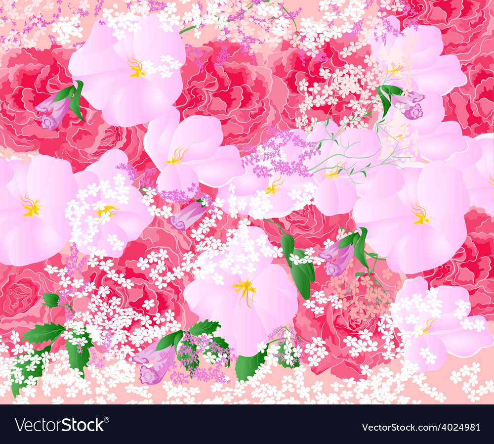 Floral background bouquet of roses and orchids vector | Price: 1 Credit (USD $1)