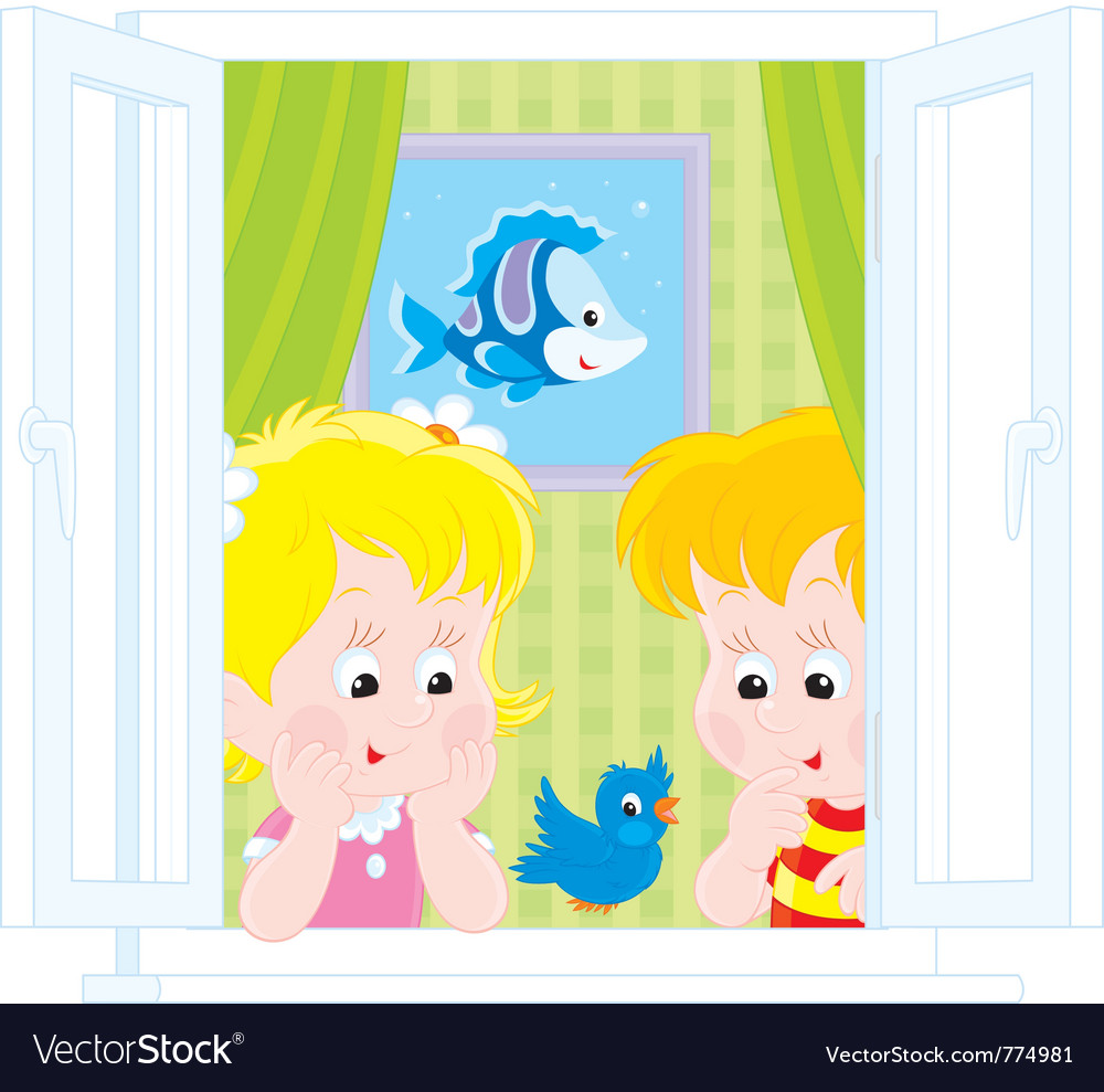 Girl and boy play with a sparrow vector | Price: 3 Credit (USD $3)