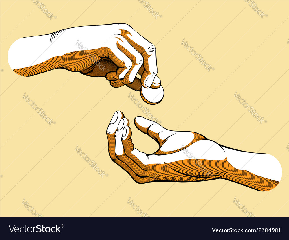 Hands giving receiving coin of money colored vector | Price: 1 Credit (USD $1)