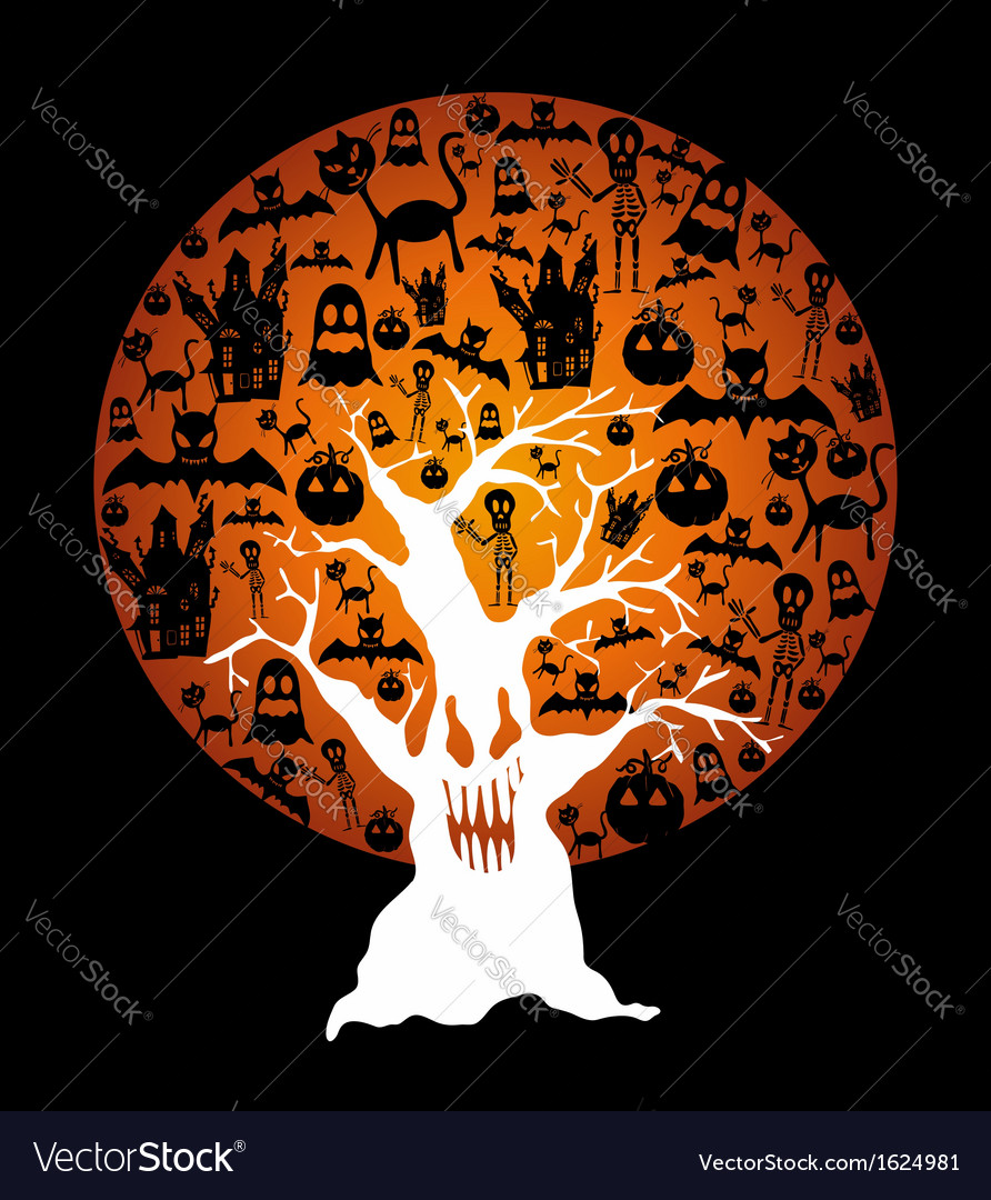 Happy halloween full moon and spooky tree eps10 vector | Price: 1 Credit (USD $1)