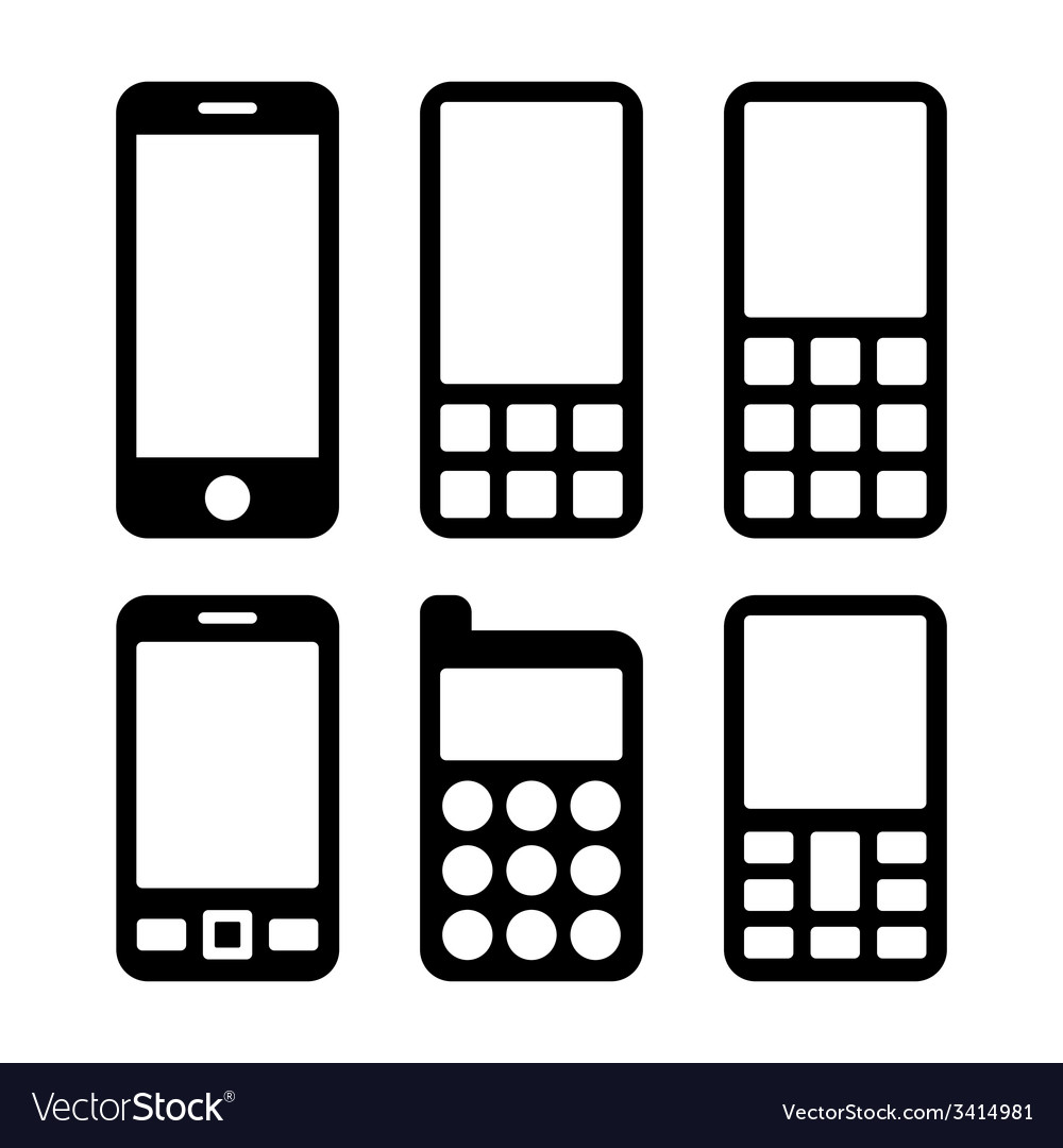 Mobile phones and smartphones icons set vector | Price: 1 Credit (USD $1)