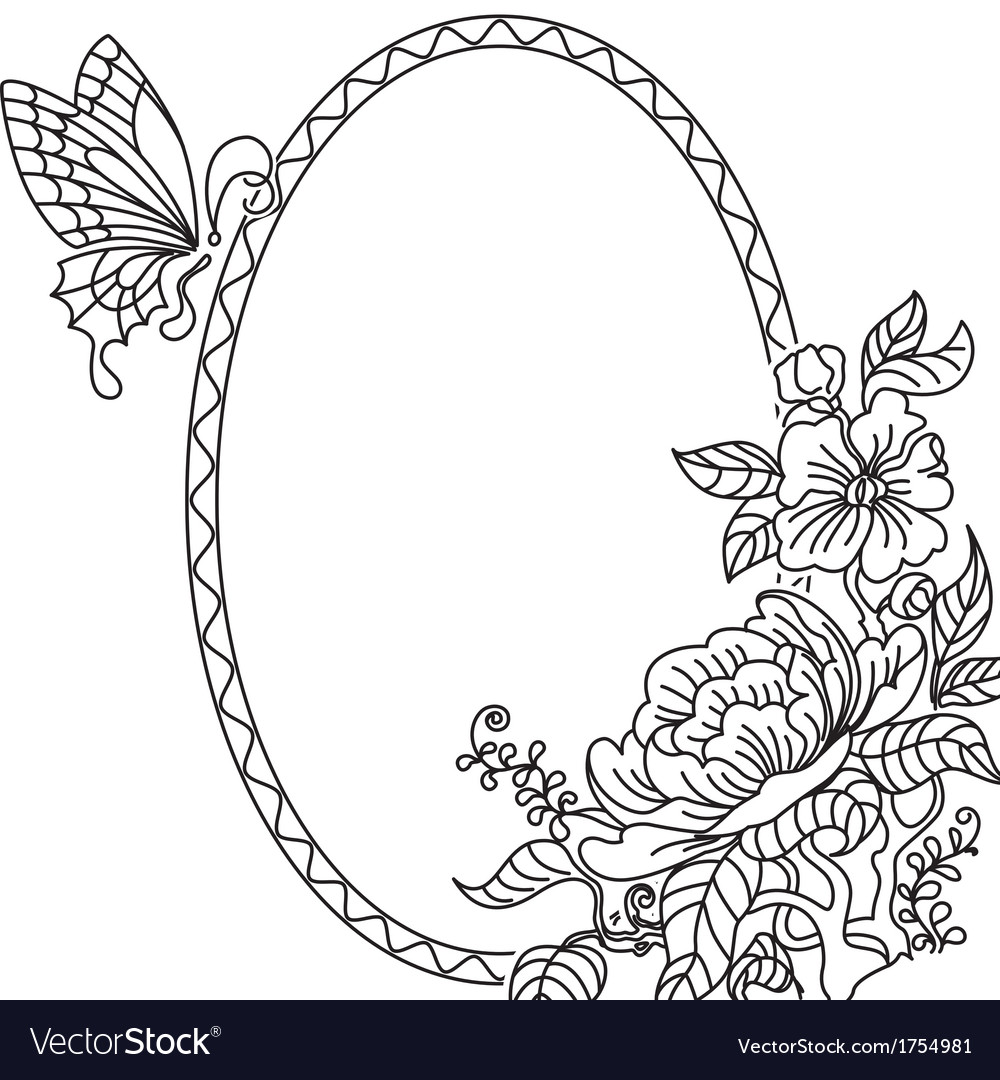 Peony and butterfly frame bw vector | Price: 1 Credit (USD $1)