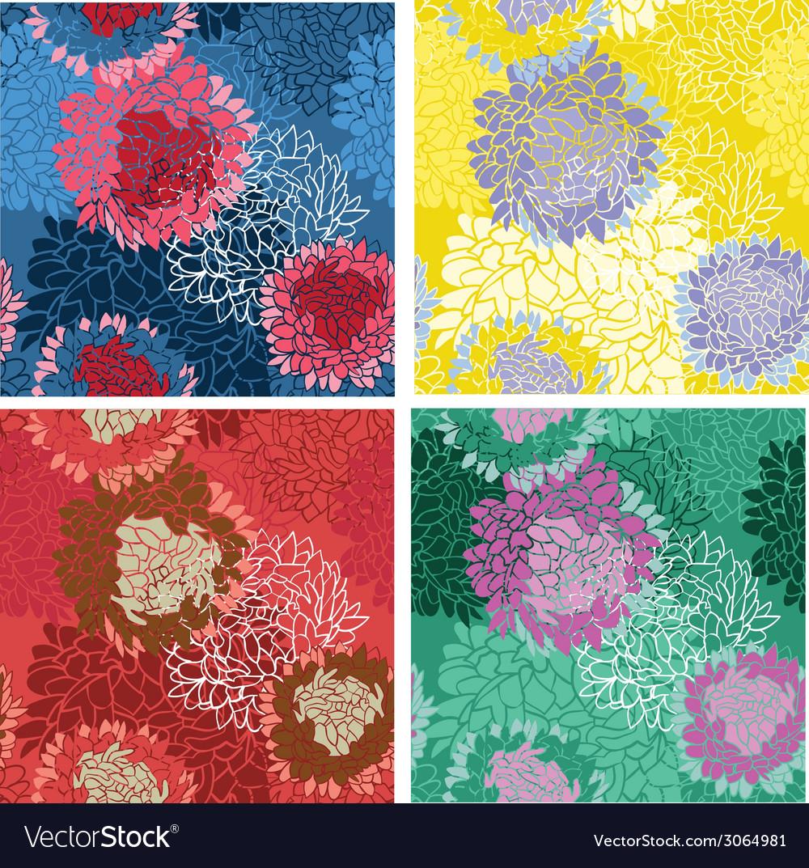 Seamless background flower bouquet set vector | Price: 1 Credit (USD $1)