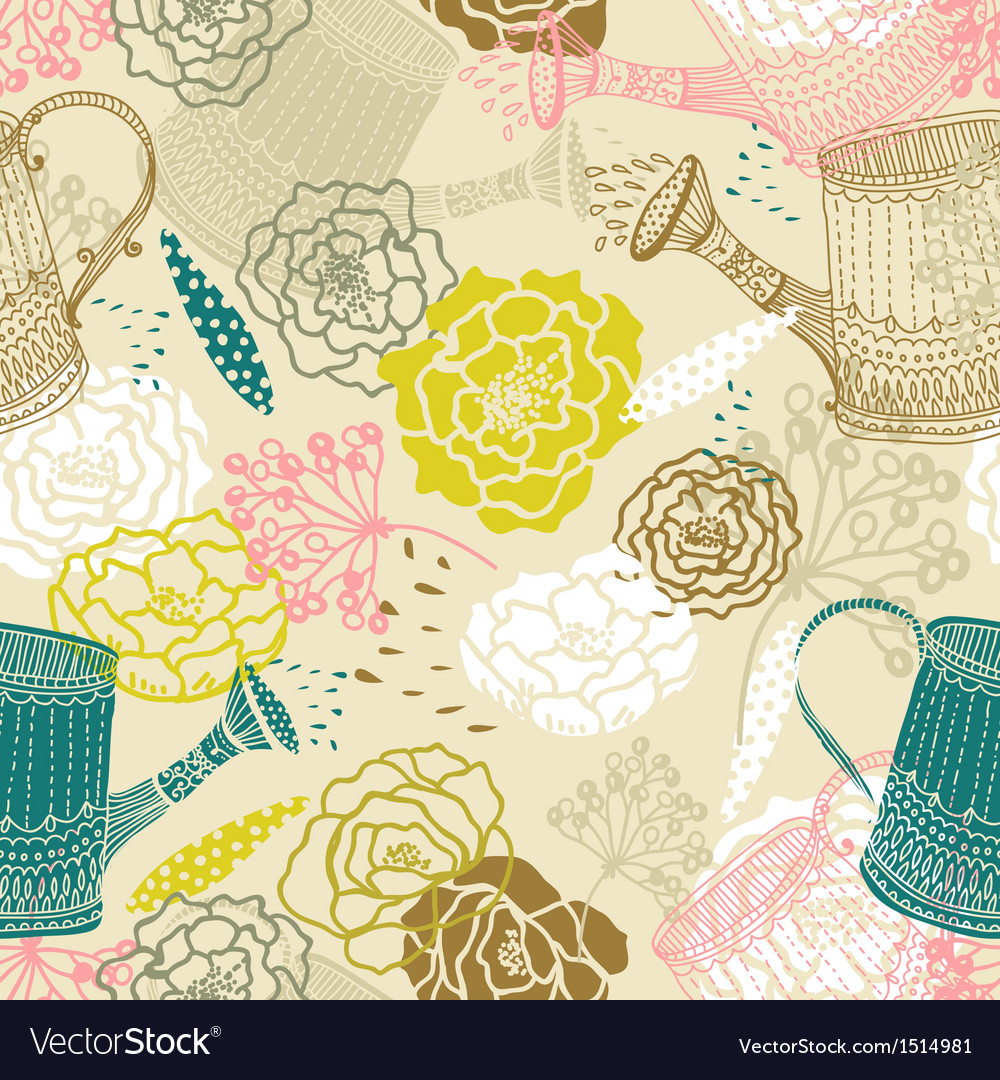 Seamless floral background with watering can vector | Price: 1 Credit (USD $1)
