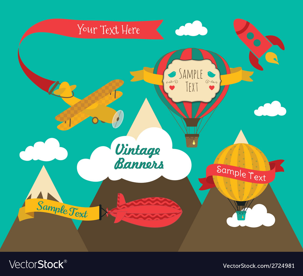 Vintage air vehicles banner design set vector | Price: 1 Credit (USD $1)