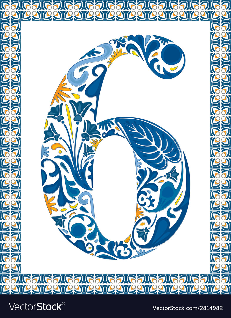 Blue number 6 vector | Price: 1 Credit (USD $1)
