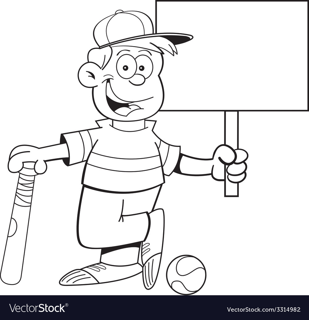 Cartoon boy leaning on a baseball bat holding a si vector | Price: 1 Credit (USD $1)