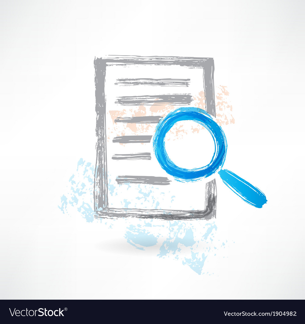 Document with magnifer grunge icon vector | Price: 1 Credit (USD $1)