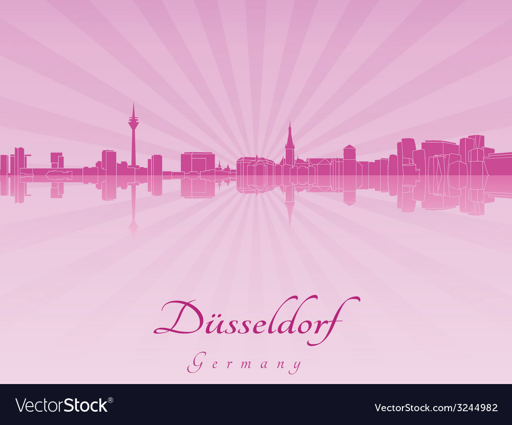Dusseldorf skyline in purple radiant orchid vector | Price: 1 Credit (USD $1)