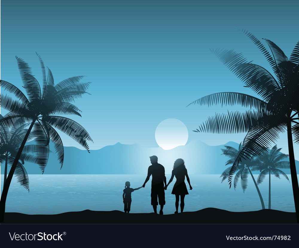 Family on beach vector | Price: 1 Credit (USD $1)