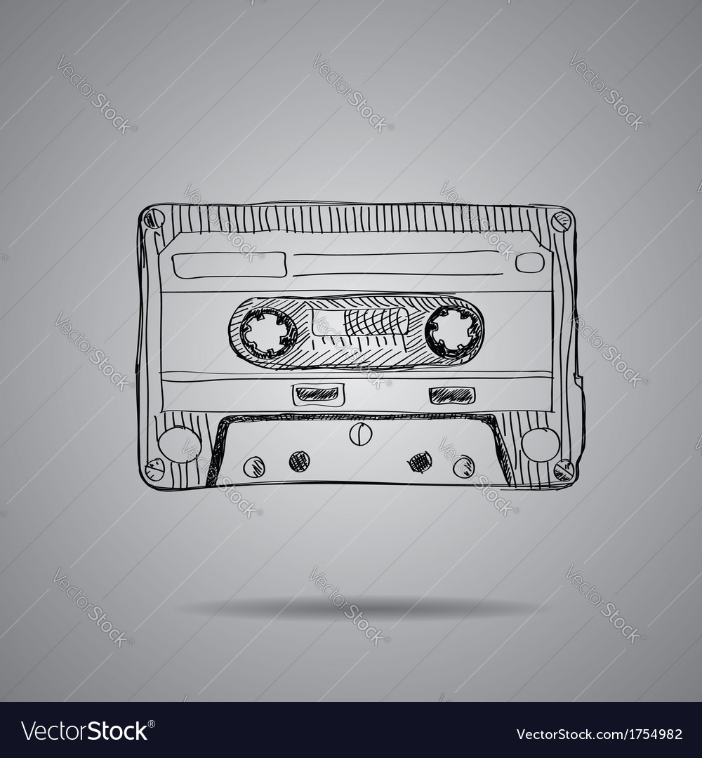 Hand-drawn cassette tape vector | Price: 1 Credit (USD $1)