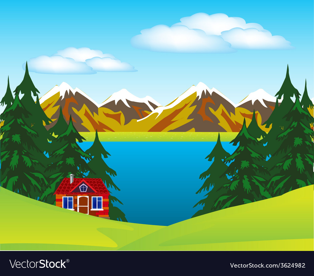 House beside lake vector | Price: 1 Credit (USD $1)