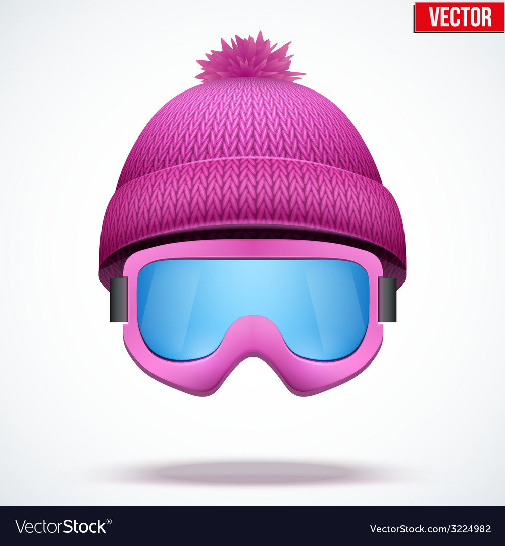 Knitted woolen cap with snow goggles winter vector | Price: 1 Credit (USD $1)