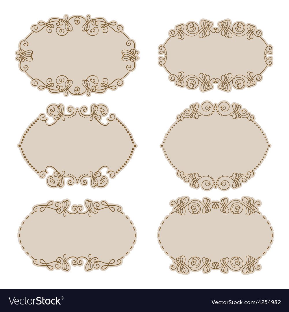 Set of gold decorative borders frame vector | Price: 1 Credit (USD $1)