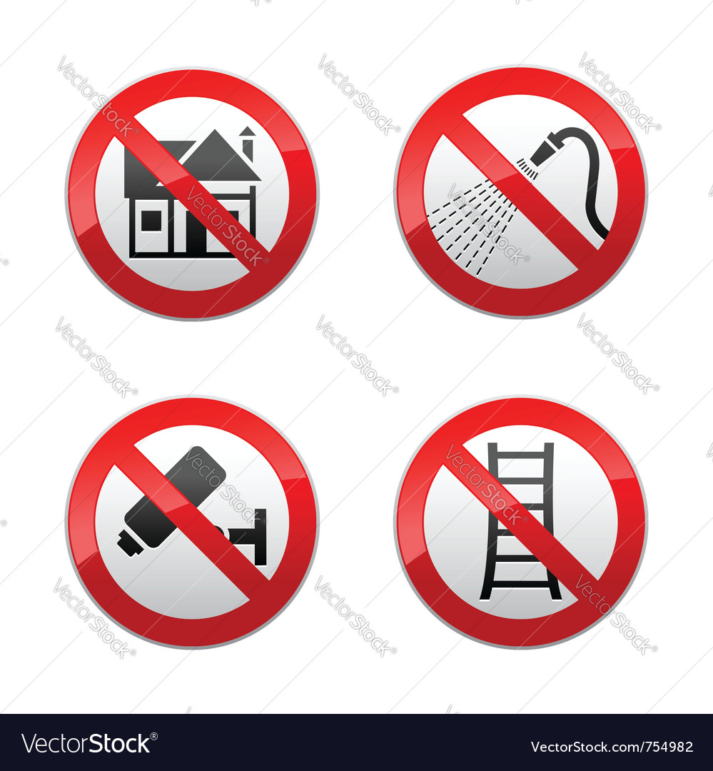 Set prohibited signs - home vector | Price: 1 Credit (USD $1)