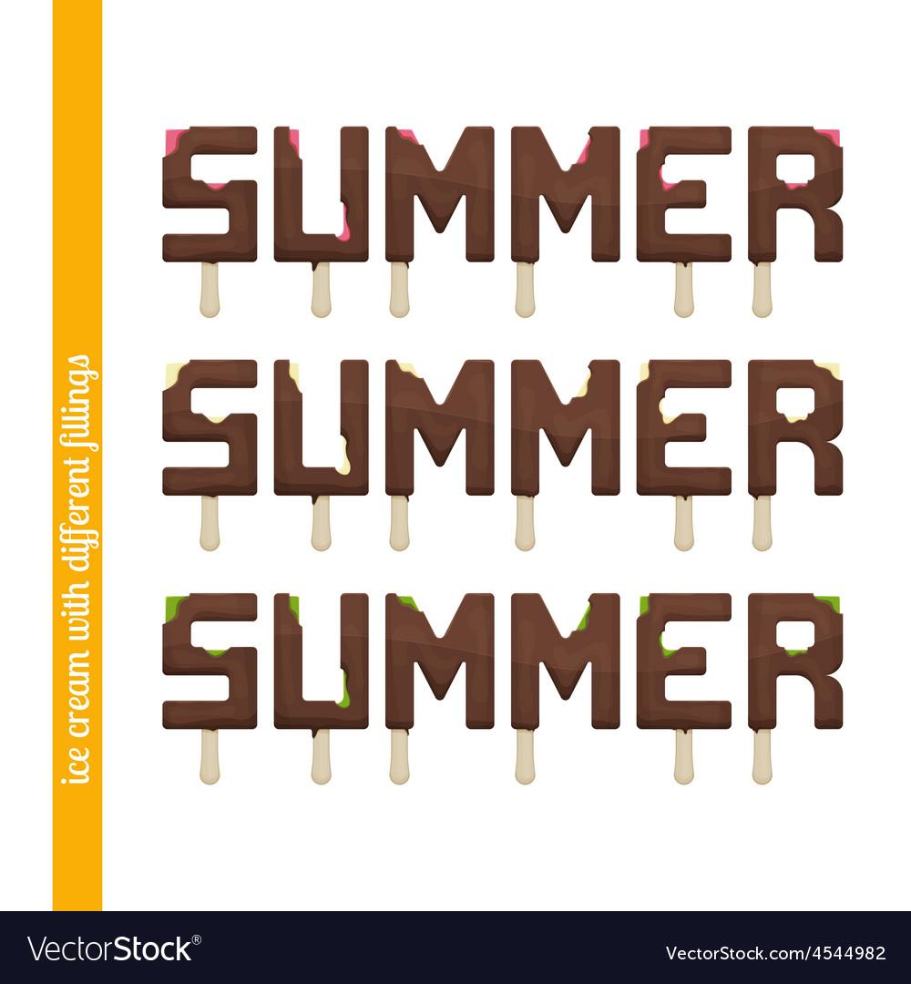 Set summer ice cream vector | Price: 1 Credit (USD $1)