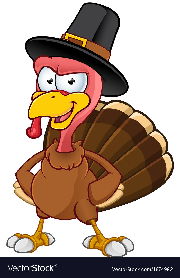 Turkey mascot hands on hips vector | Price: 1 Credit (USD $1)