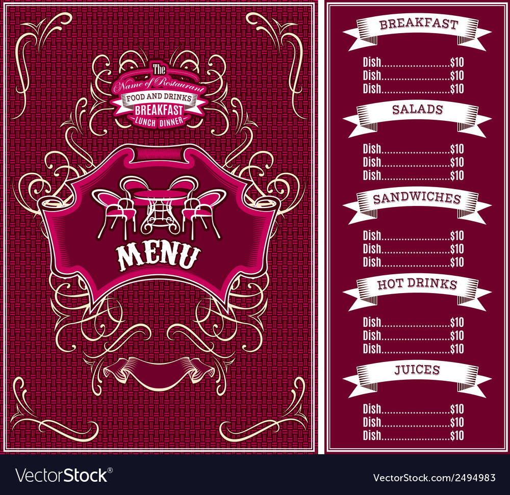 Bordo template for the cover of the menu vector | Price: 1 Credit (USD $1)