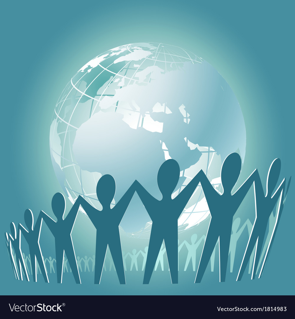 Community of people joined around the globe vector | Price: 1 Credit (USD $1)