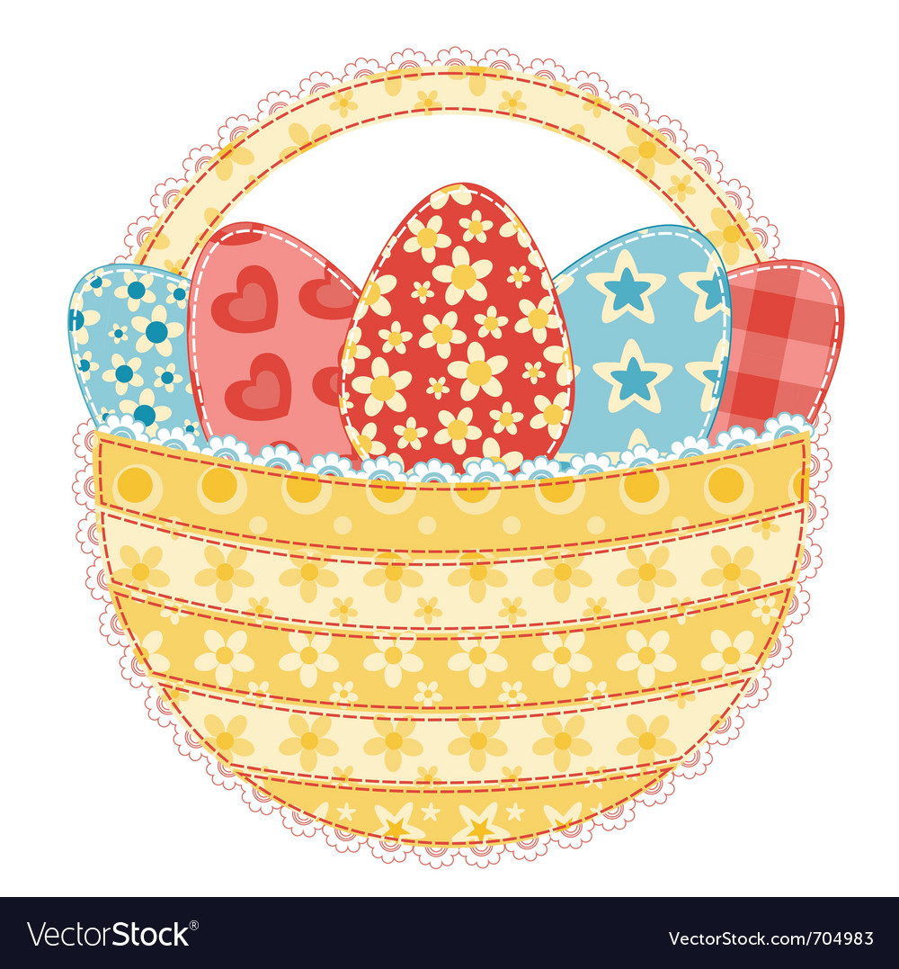 Easter basket on white vector | Price: 1 Credit (USD $1)
