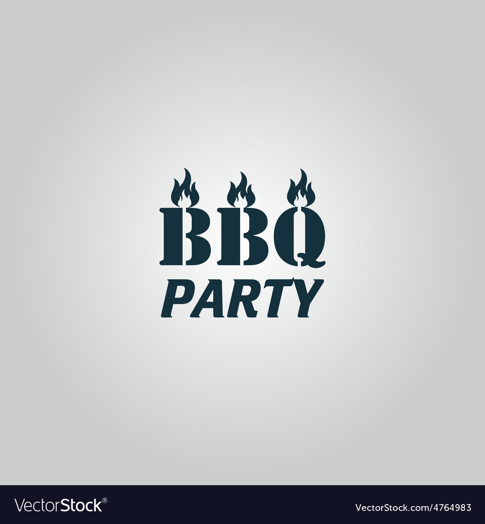 Flaming bbq party word design element vector | Price: 1 Credit (USD $1)