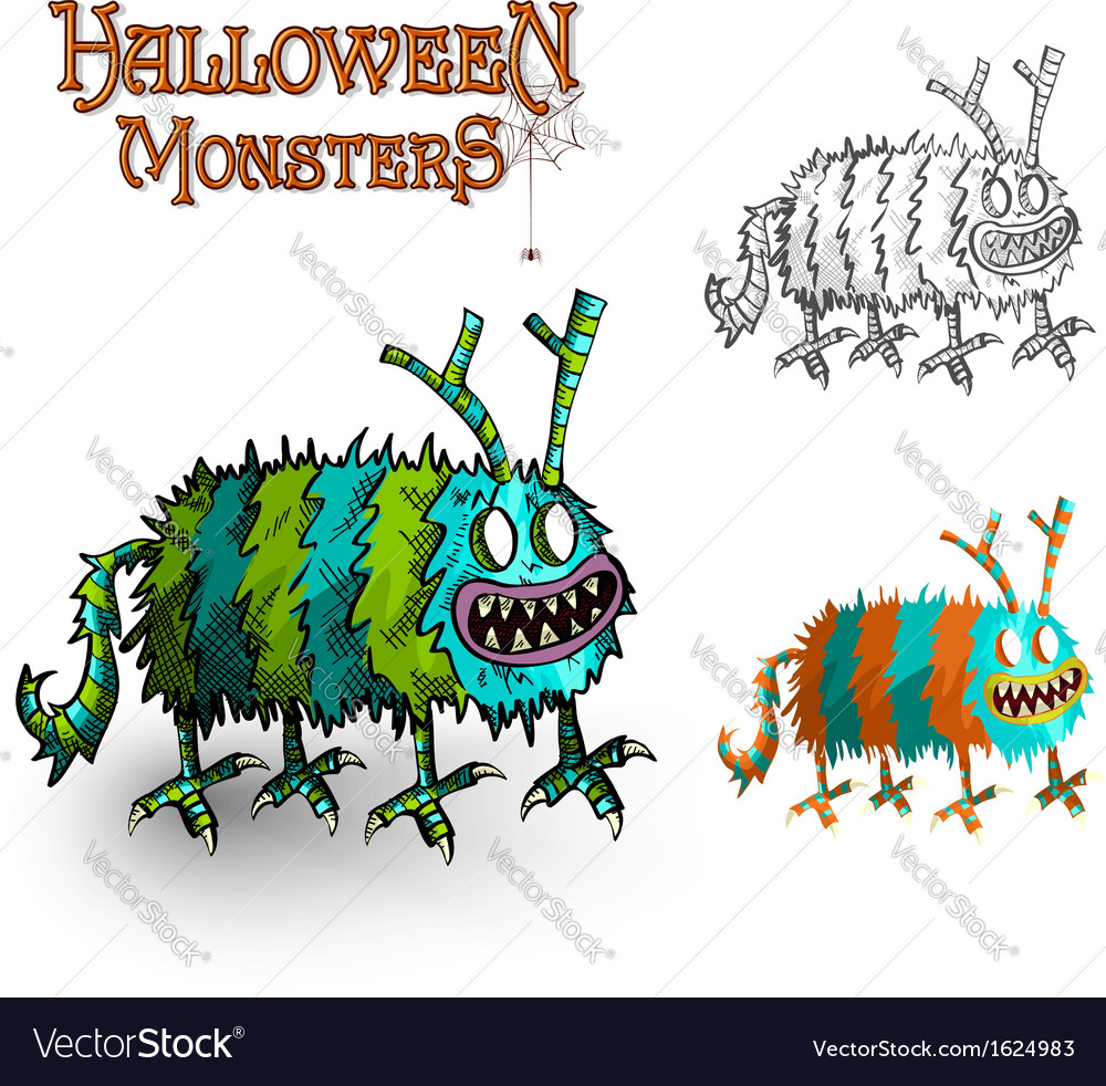 Halloween monsters spooky elements set eps10 file vector | Price: 1 Credit (USD $1)