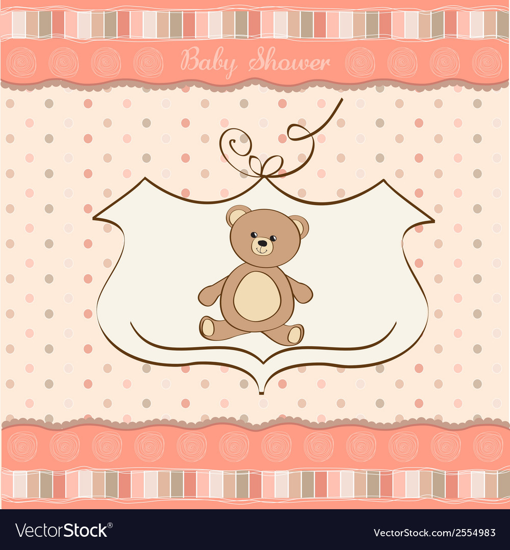 Romantic baby girl announcement card with teddy vector | Price: 1 Credit (USD $1)