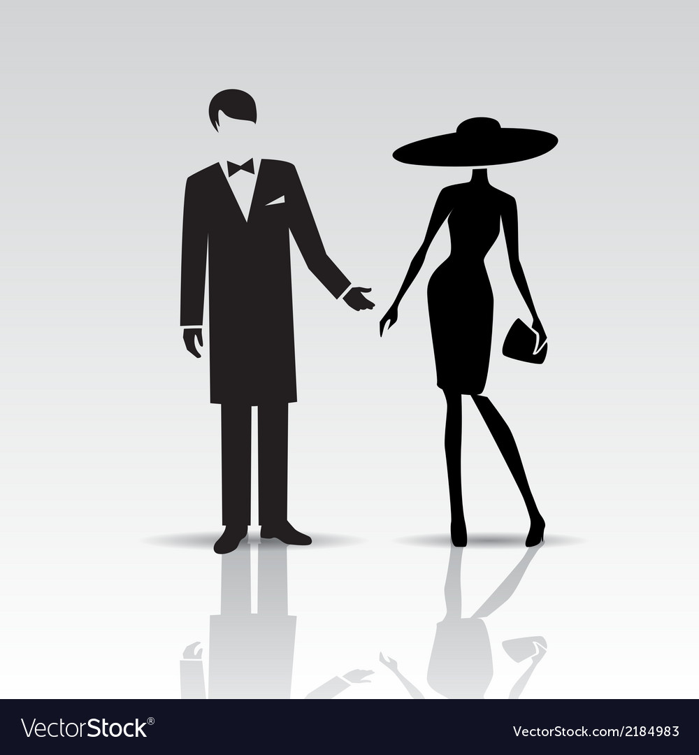 Silhouettes of lady and gentleman vector | Price: 1 Credit (USD $1)