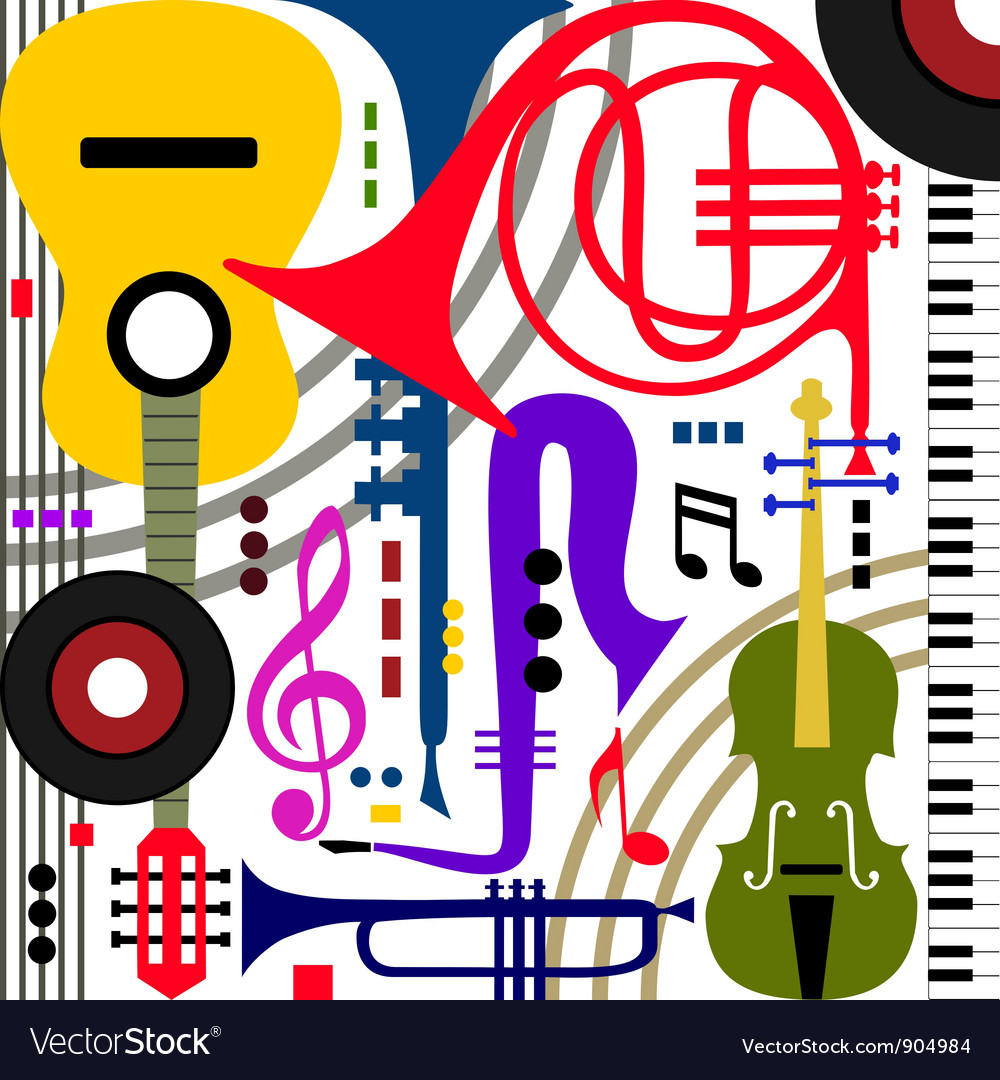 Abstract musical instruments vector