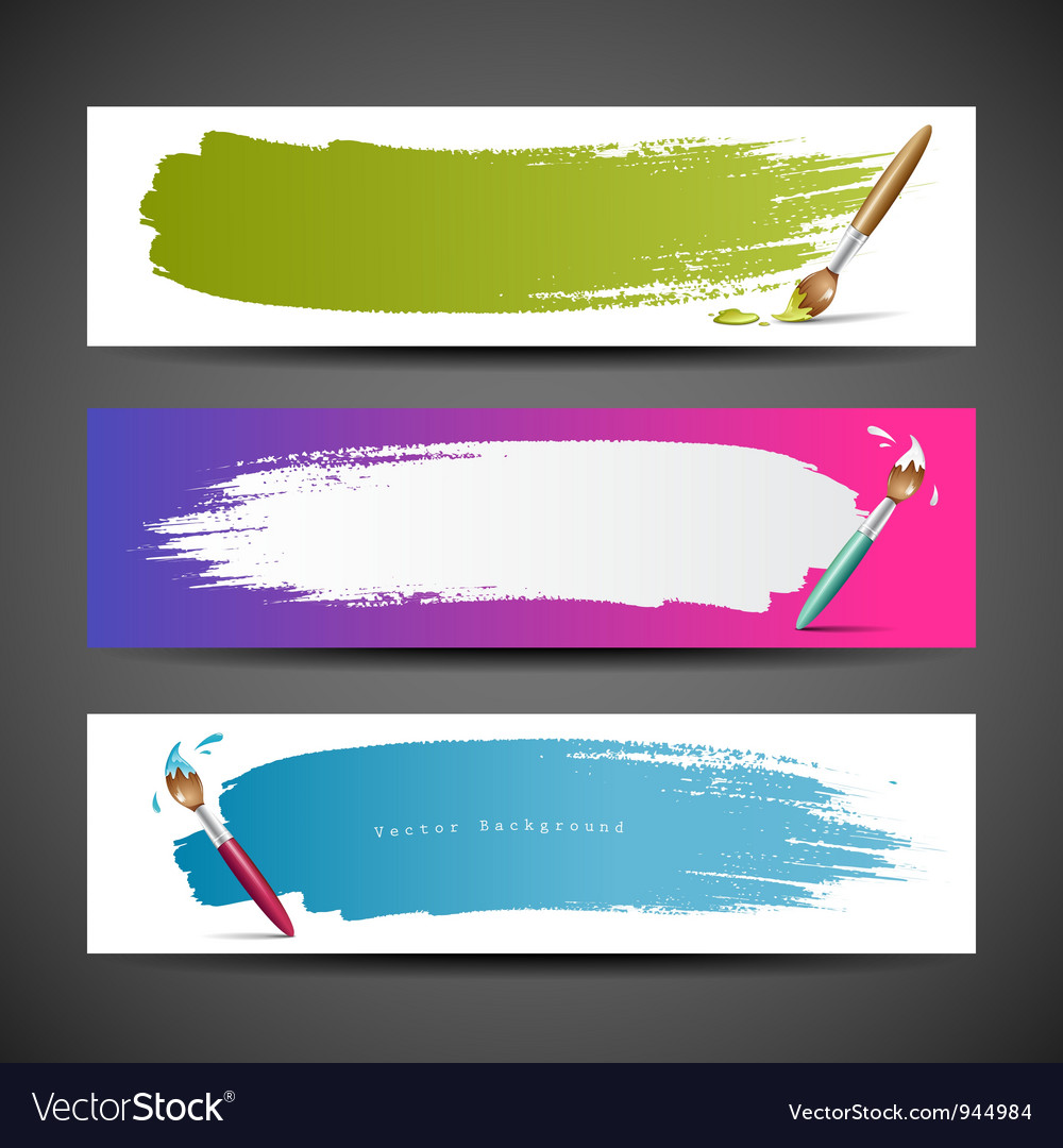 Colorful paint brush banners background set vector | Price: 1 Credit (USD $1)