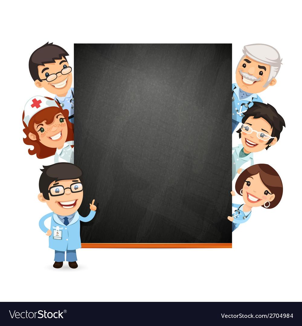 Doctors presenting empty blackboard vector | Price: 1 Credit (USD $1)