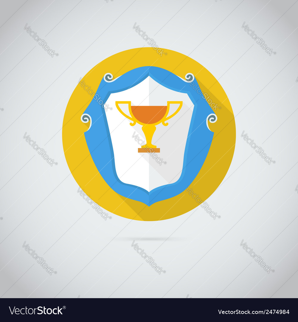 Flat icon with golden cup vector   Price: 1 Credit (USD $1)