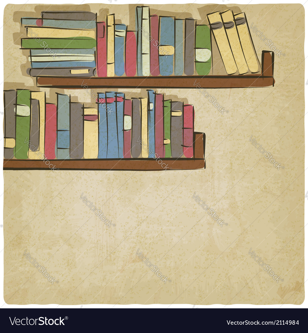 Hand drawing bookshelf old background vector | Price: 1 Credit (USD $1)