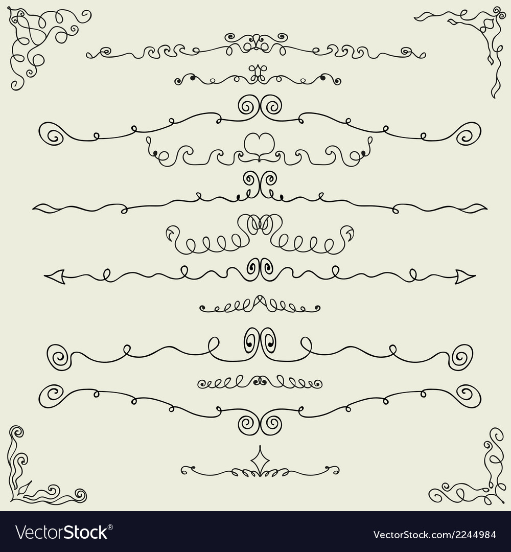 Hand drawn calligraphic design elements vector | Price: 1 Credit (USD $1)