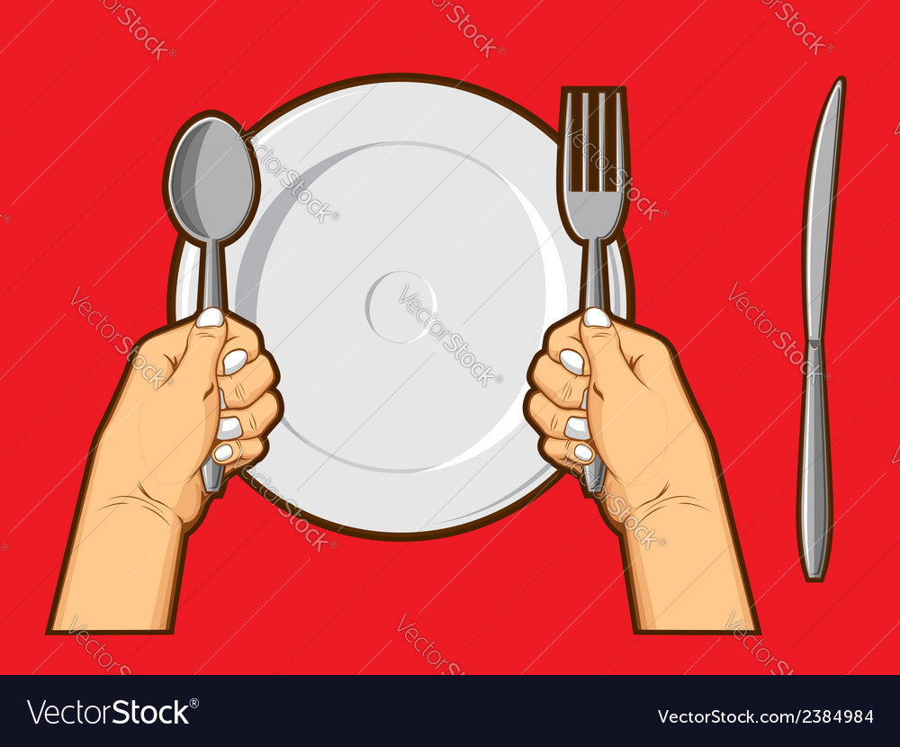 Hands holding spoon fork knife vector | Price: 1 Credit (USD $1)