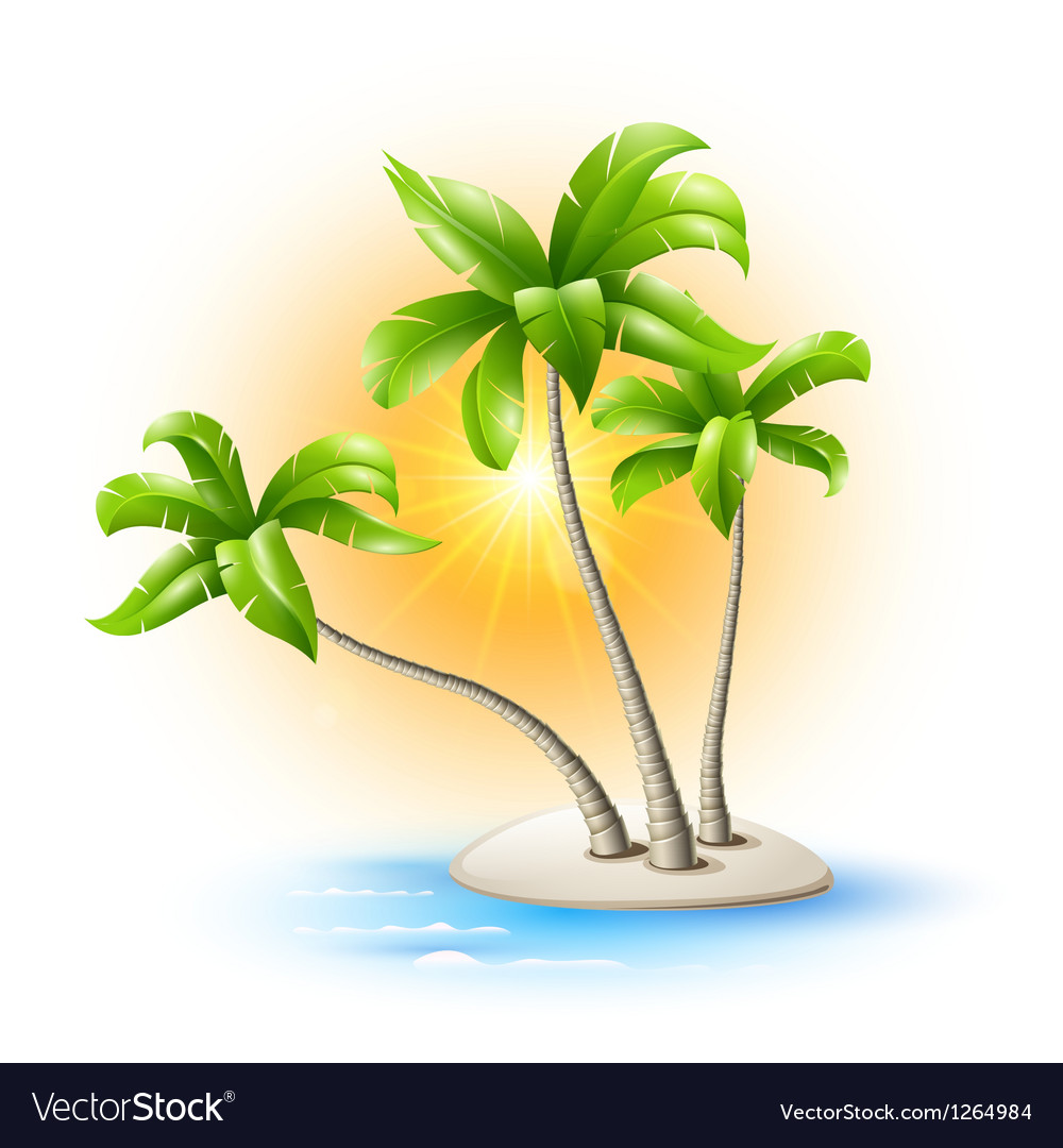 Island with palm trees vector | Price: 3 Credit (USD $3)