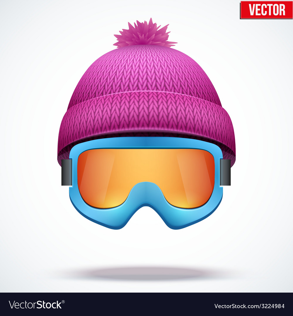 Knitted woolen cap with snow goggles winter vector   Price: 3 Credit (USD $3)