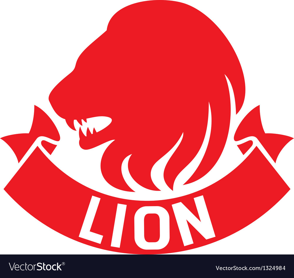 Lion head label vector | Price: 1 Credit (USD $1)