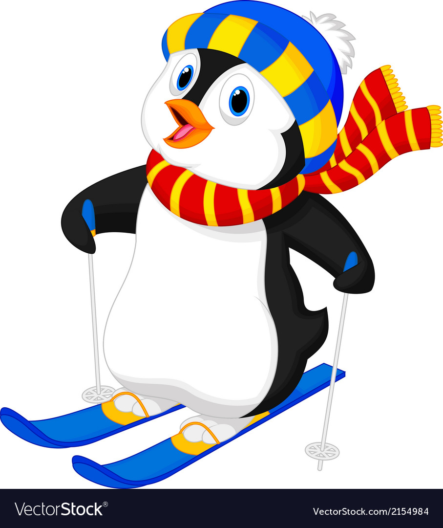 Penguin cartoon skiing vector | Price: 1 Credit (USD $1)