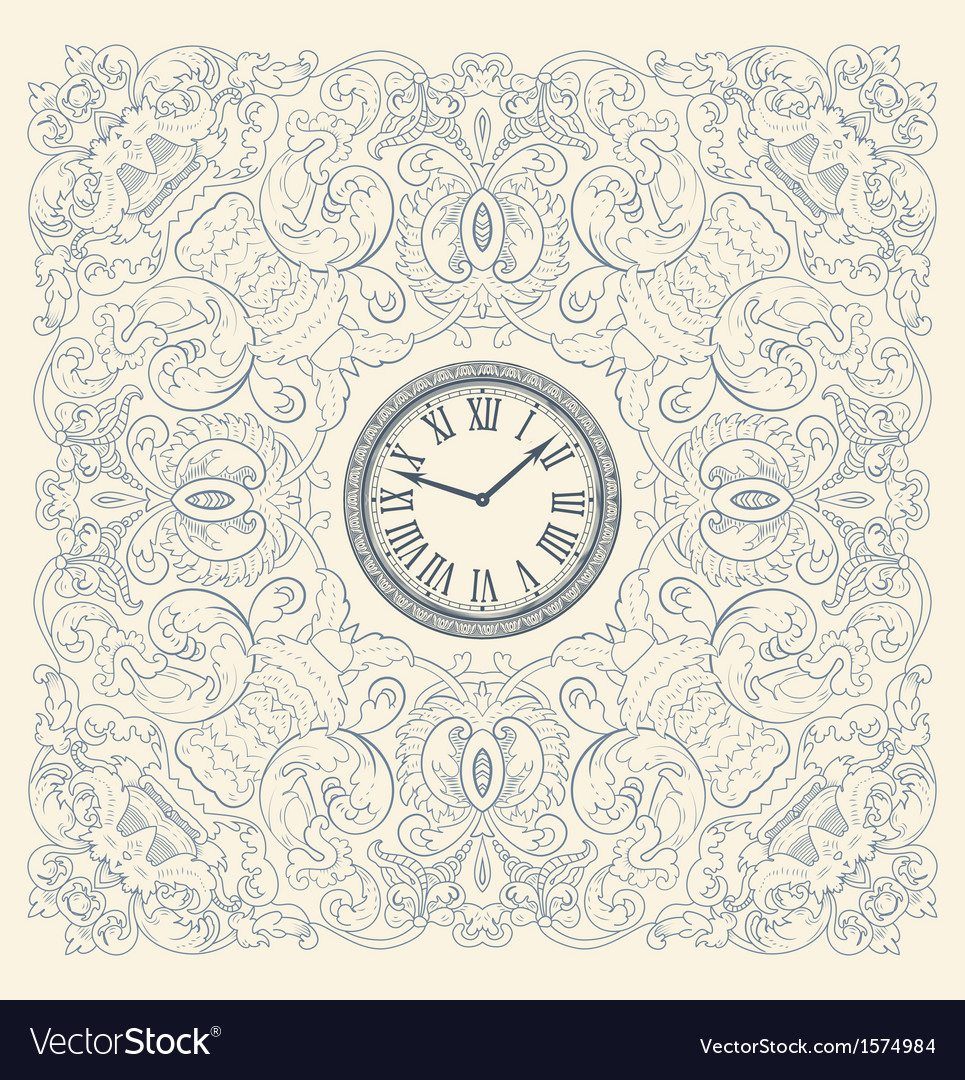 Retro card floral elements and watch vector | Price: 1 Credit (USD $1)