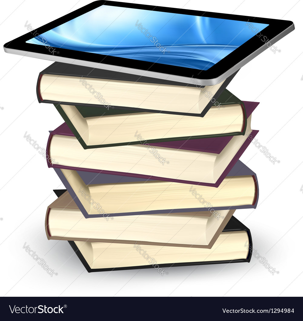 Tablet on a stock of books e-book capacity concept vector | Price: 1 Credit (USD $1)