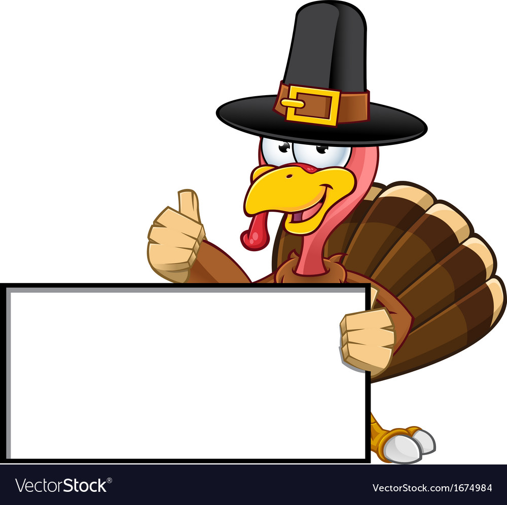 Turkey mascot holding a blank sign vector | Price: 1 Credit (USD $1)