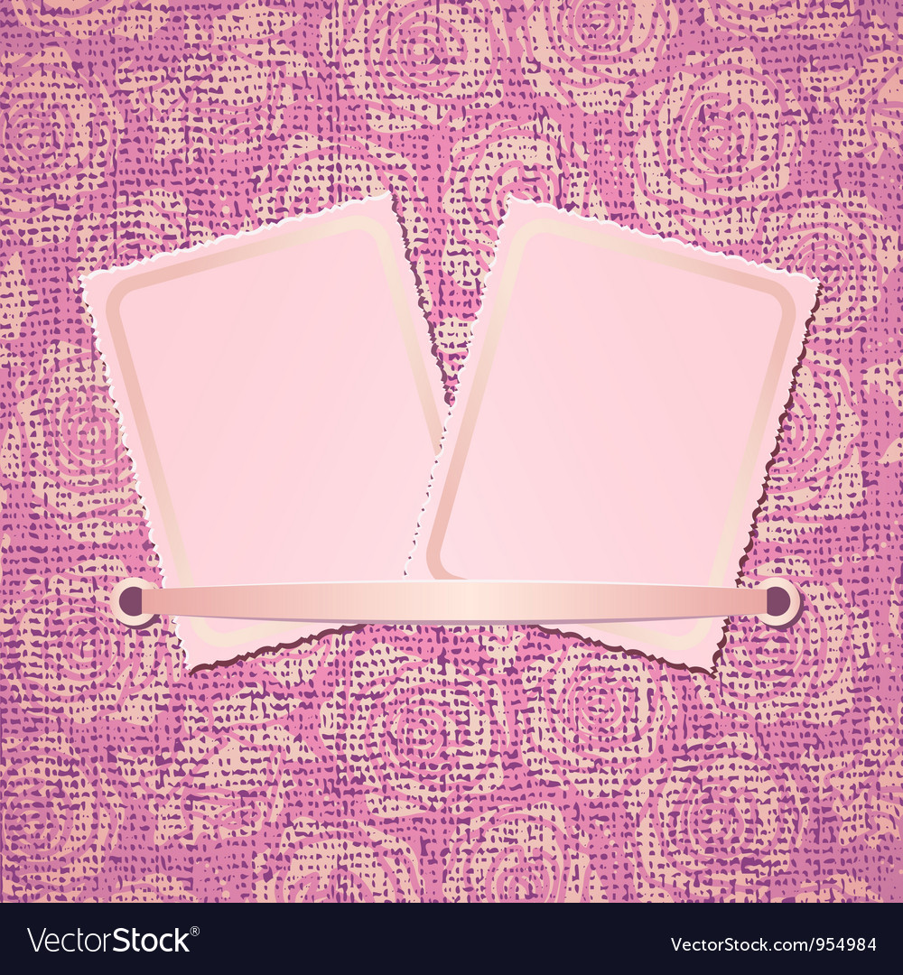 Two photo card on pink fabric background vector | Price: 1 Credit (USD $1)