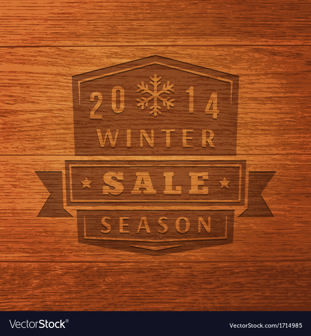 2014 winter sale label on wood texture background vector | Price: 1 Credit (USD $1)