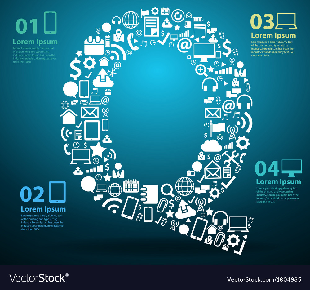 Application icons alphabet letters q design vector | Price: 1 Credit (USD $1)