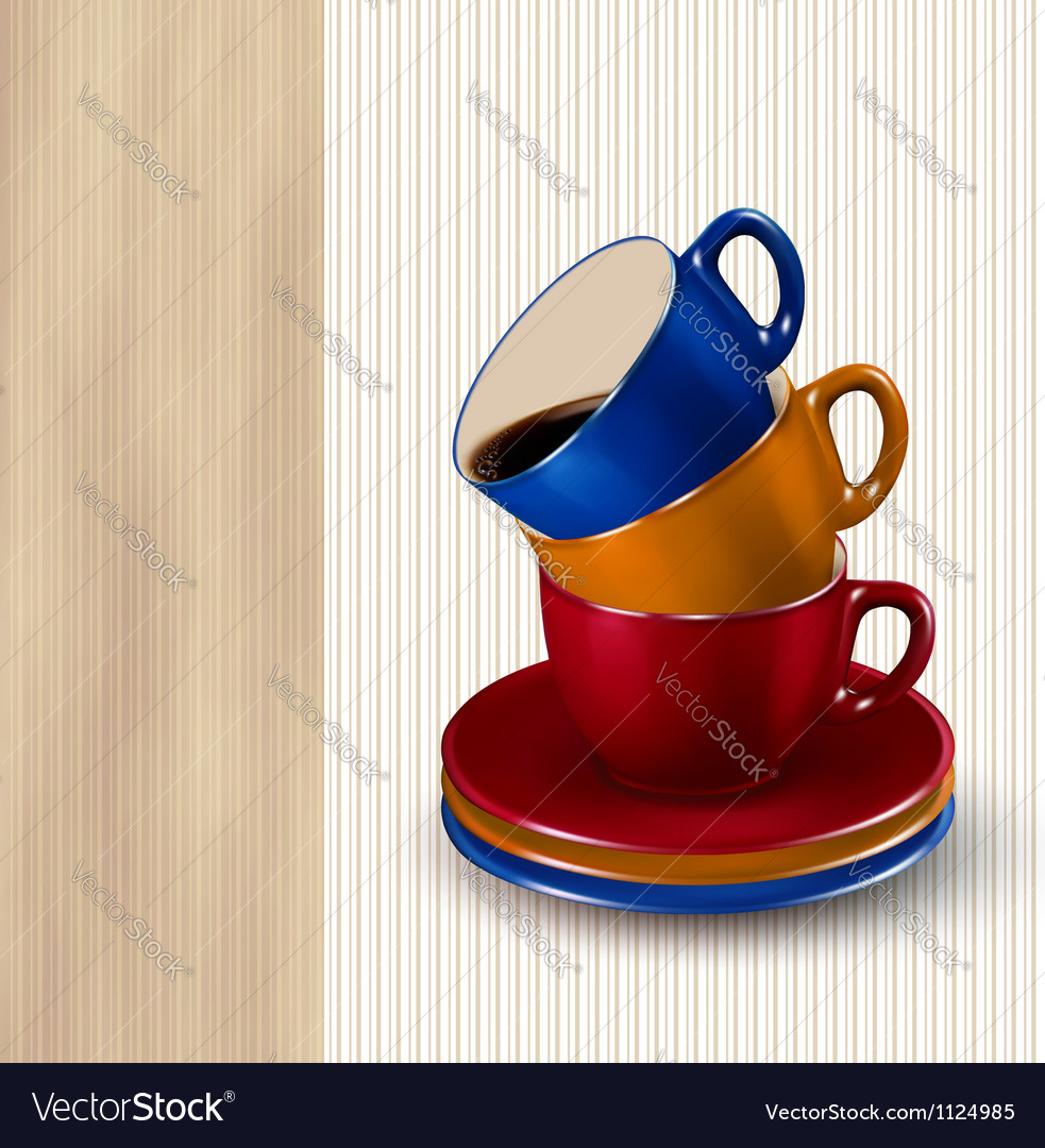 Background with colorful cups of coffee coffee vector | Price: 1 Credit (USD $1)