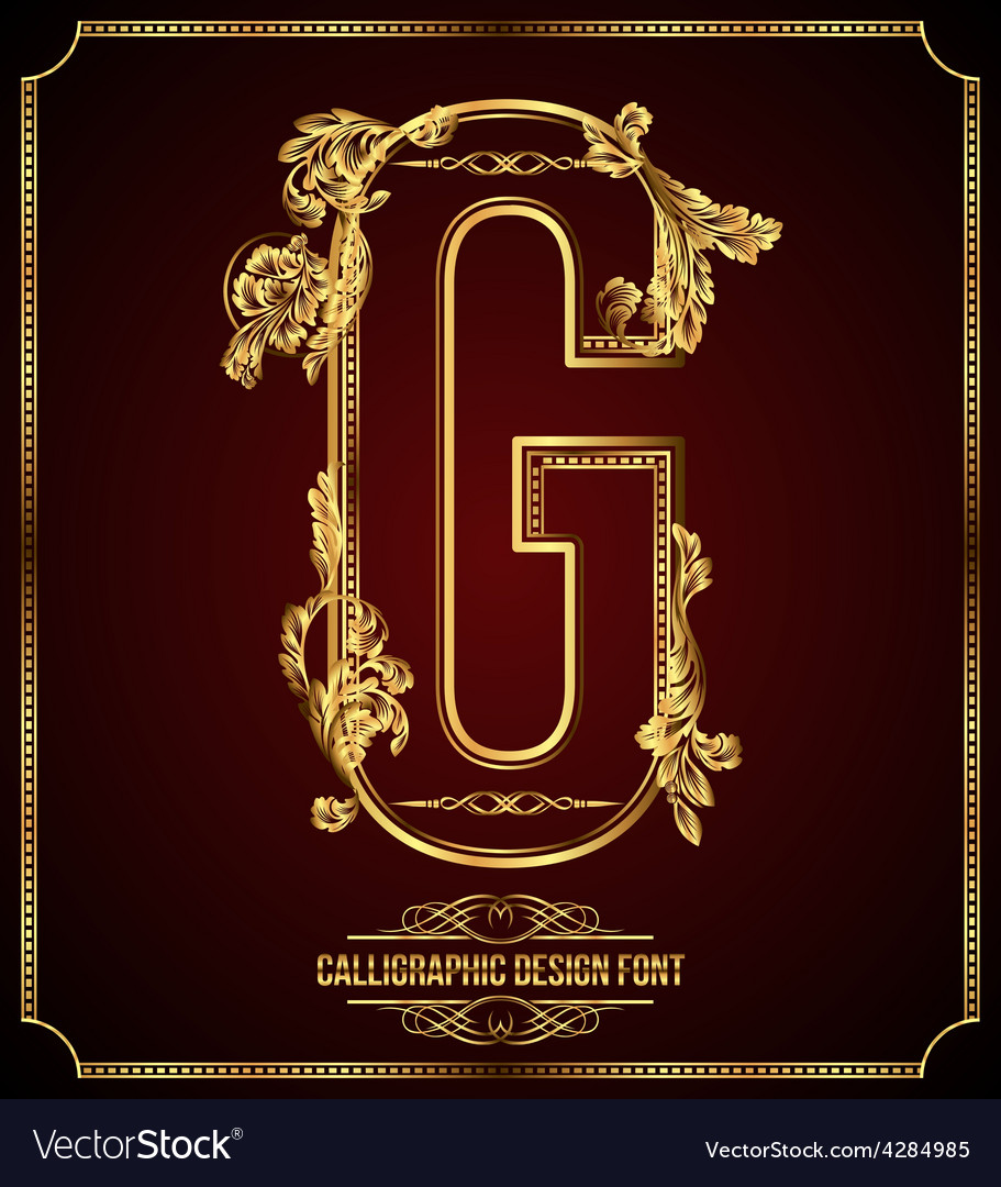 Calligraphic font letter g vector | Price: 3 Credit (USD $3)