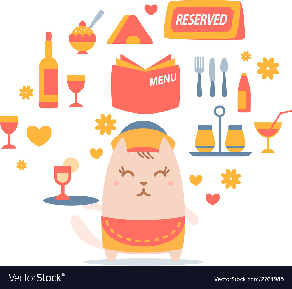 Character waiter in uniform apron and hat colorful vector | Price: 1 Credit (USD $1)